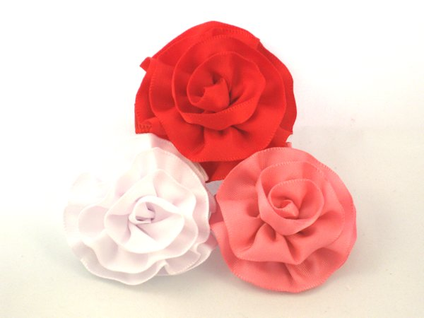 Satin Rose Hair Clips