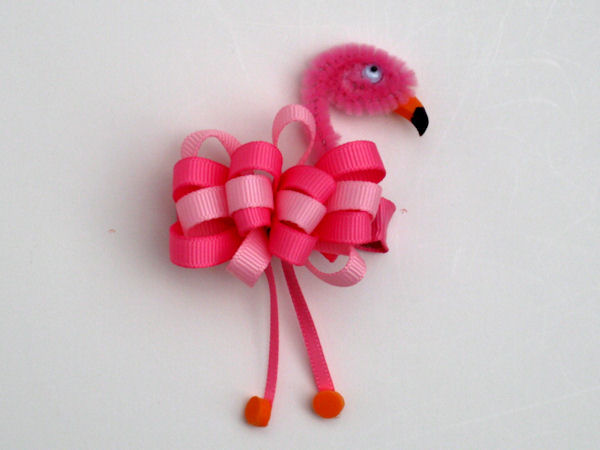 Flamingo Ribbon Sculpture Hair Clip