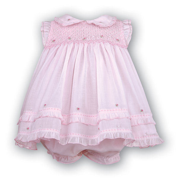 Pink Smocked Voile Dress Set