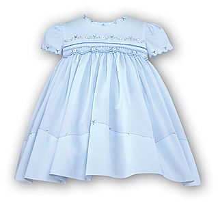 Light Blue Floral Smocked Dress