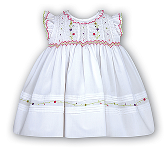 White Sundress with Multi Color Smocking