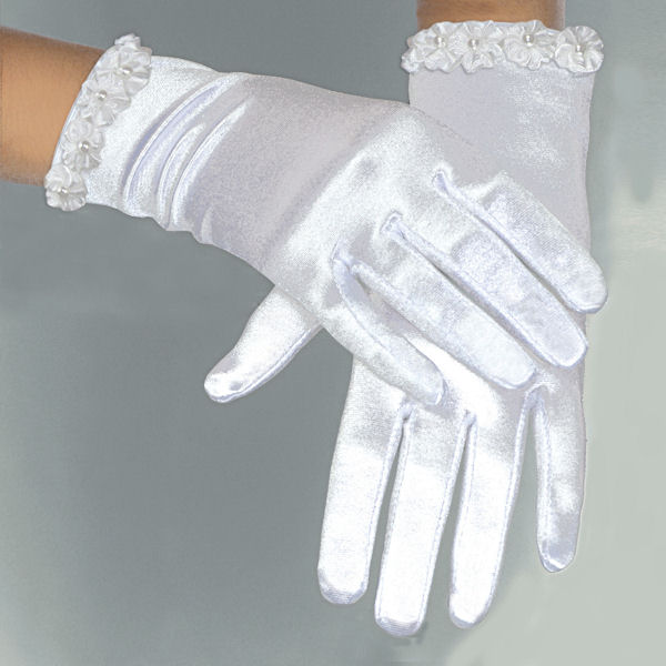 Pearled Flower Cuff Satin Gloves