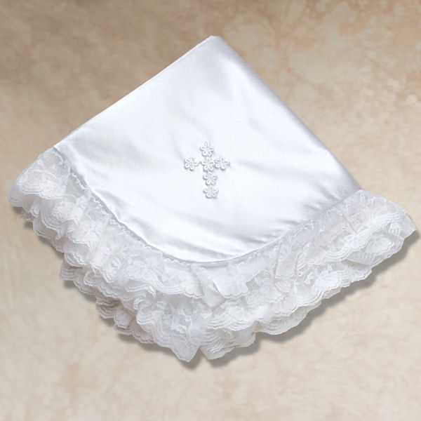 Girl's Satin and Lace Cross Blanket