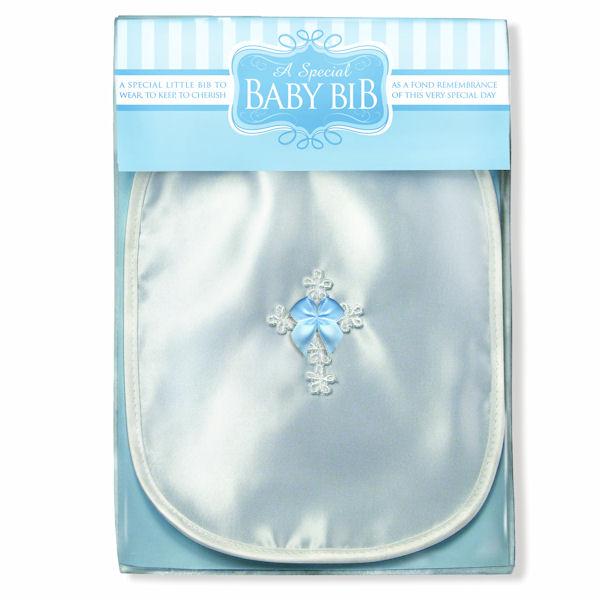 Blue Bow Boy's Bib