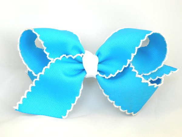 Island Blue & White Large Moonstitch Hair Bow