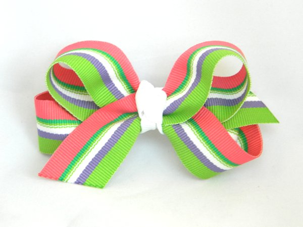 Beach Blanket Medium Stripe Hair Bow