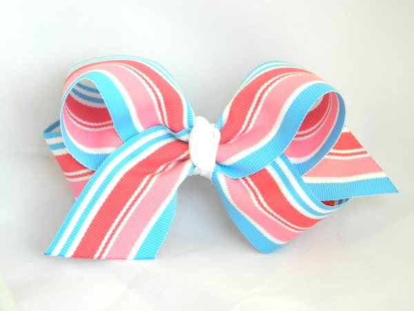 Snow Cone Stripe Large Hair Bow