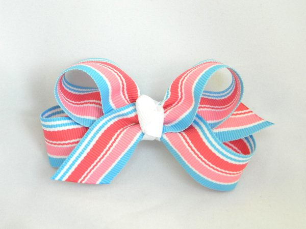 Snow Cone Stripe Medium Hair Bow