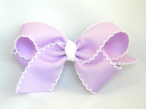 Light Orchid & White Large Moonstitch Hair Bow