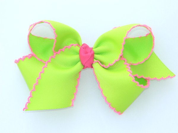 Lime & Hot Pink Large Moonstitch Bow