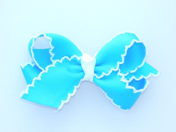 Island Blue & White Medium Moonstitch Hair Bow