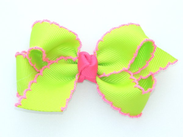 Lime & Hot Pink Medium Moonstitch Bow