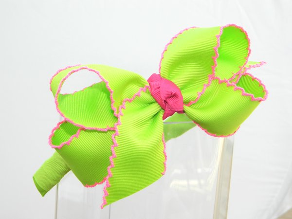 Lime & Hot Pink Moonstitch Headband