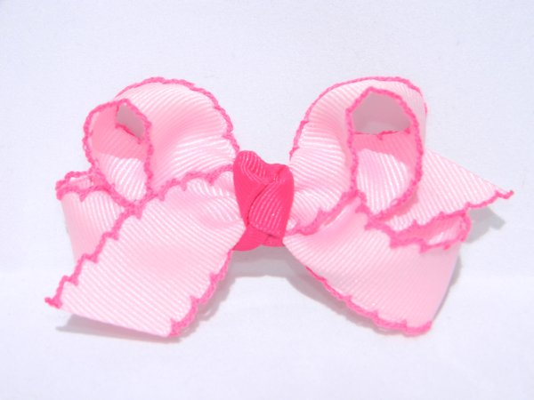 Pearl Pink & Shocking Pink Medium Moonstitch Hair Bow