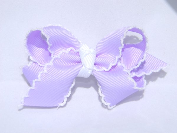 Light Orchid & White Medium Moonstitch Hair Bow
