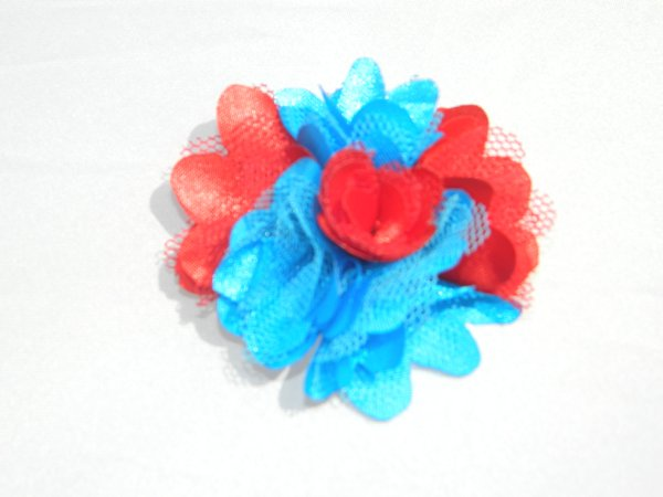 "2"" Red & Bright Blue Satin Rosette"