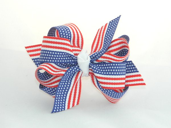 American Flag Medium Double Hair Bow