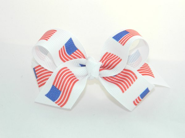 American Flags Medium Hair Bow