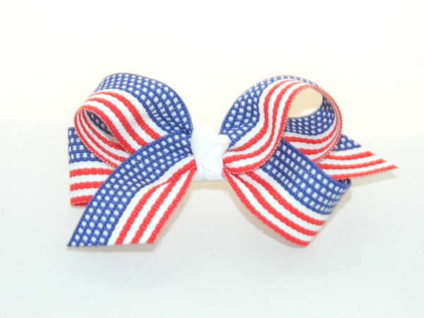 American Flag Medium Hair Bow