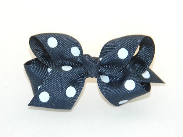Navy & White Polka Dots Medium Hair Bow