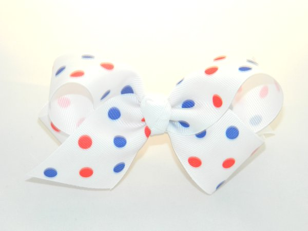 White with Red & Blue Polka Dots Medium Hair Bow