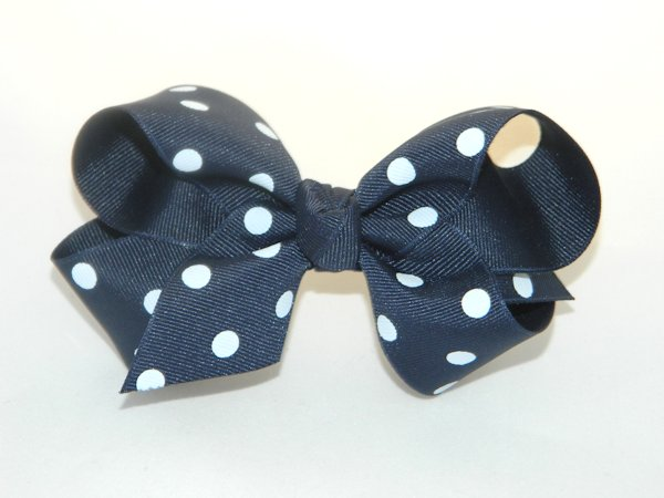 Navy & White Polka Dots Large Hair Bow