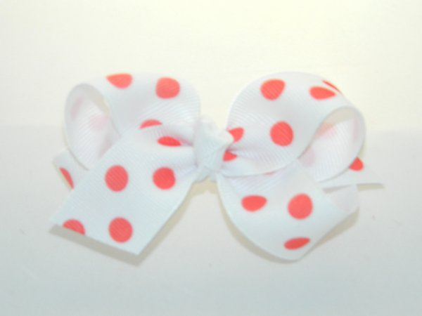 White & Red Polka Dots Medium Hair Bow