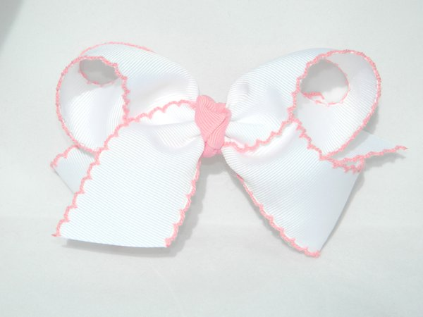 White & Pink Moonstitch Large Hair Bow
