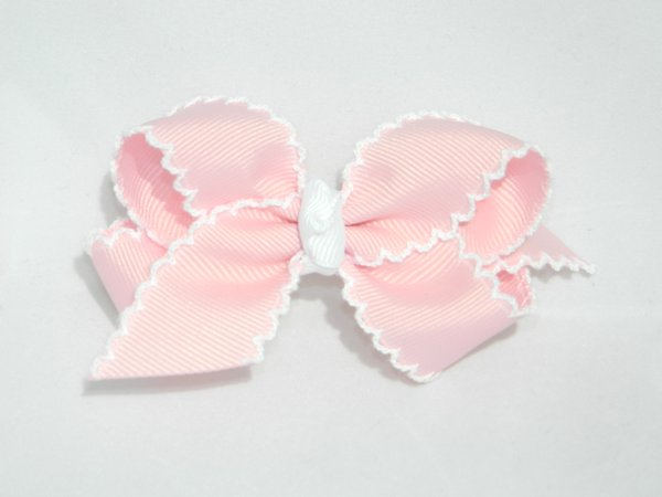Light Pink & White Moonstitch Medium Hair Bow