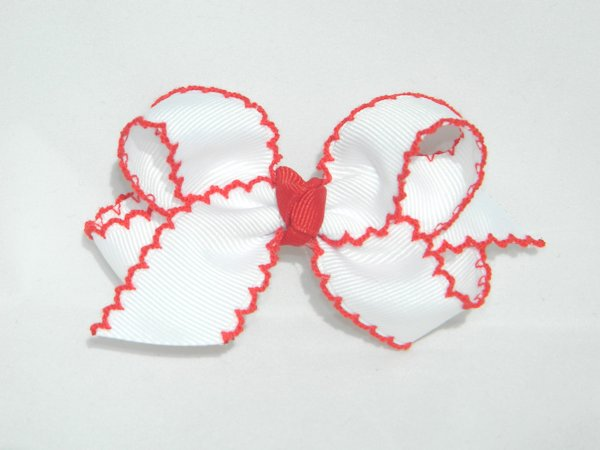 White & Red Moonstitch Medium Hair Bow