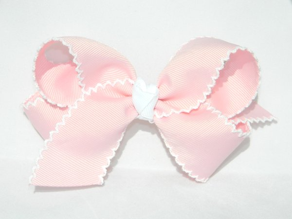 Light Pink & White Moonstitch Large Hair Bow