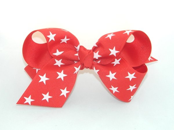 Red Star Large Hair Bow