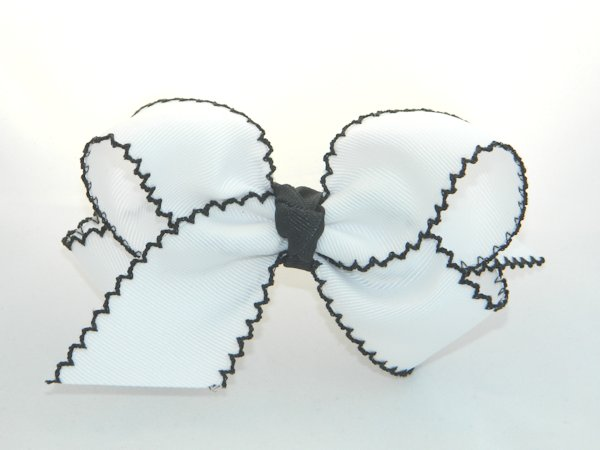 White & Black Moonstitch Large Hair Bow