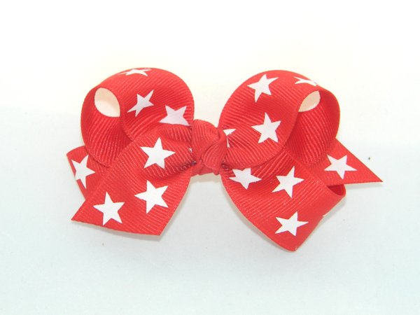Red Star Medium Hair Bow