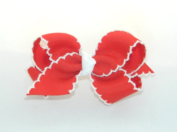 Red & White Moonstitch Medium Hair Bow