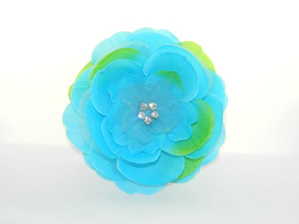 Turquoise Rhinestone Center Flower Hair Clip