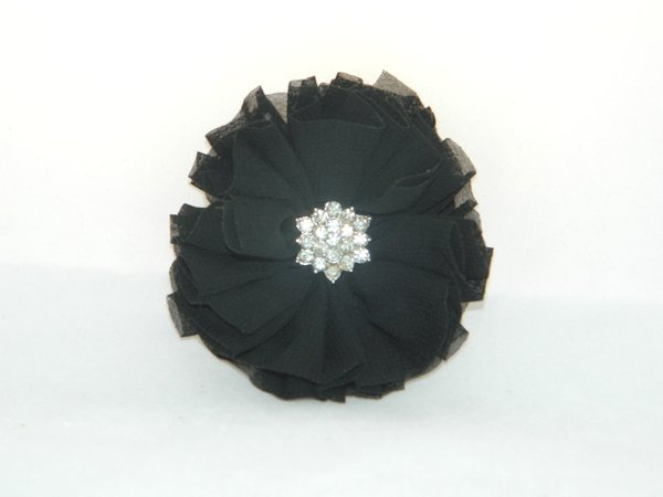 Black Starburst Flower Hair Clip