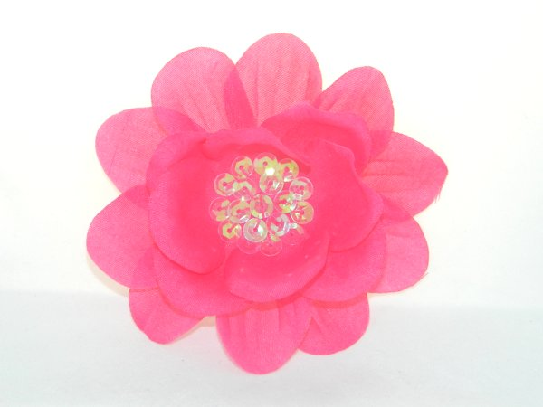 Hot Pink Sequin Flower Hair Clip