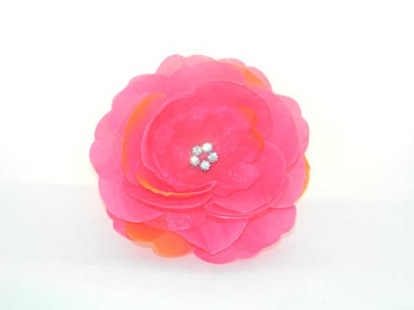 Shocking Pink & Orange Rhinestone Center Flower Hair Clip