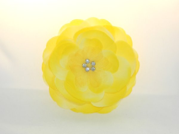 Yellow Rhinestone Center Flower Hair Clip