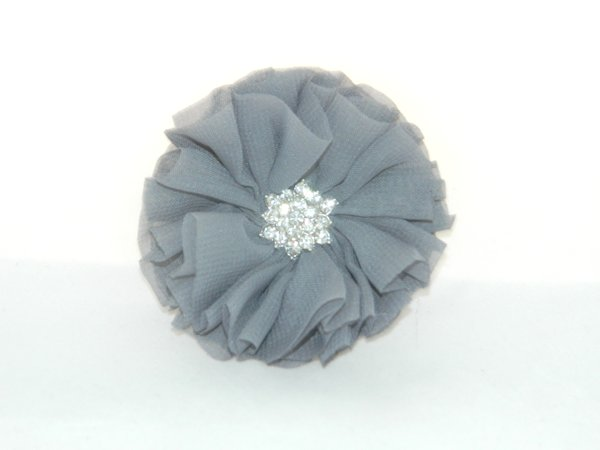 Dark Grey Starburst Flower Hair Clip