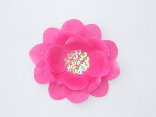 Fuchsia Sequin Flower Hair Clip