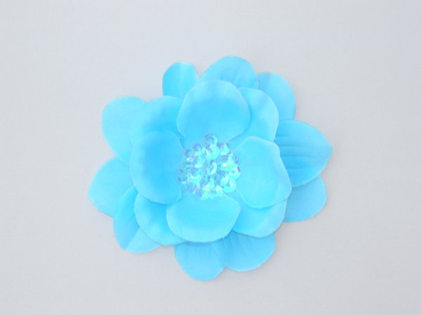 Aqua Sequin Flower Hair Clip