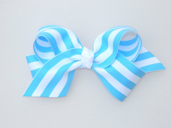 Bright Blue & White Stripe Large Hair Bow