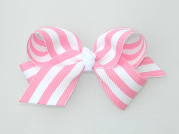 Pink & White Stripe Large Hair Bow