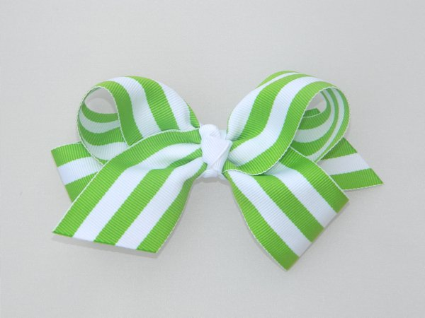 Lime & White Stripe Large Hair Bow
