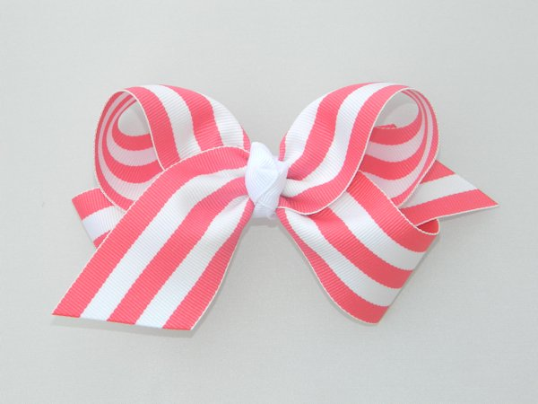 Geranium & White Stripe Large Hair Bow