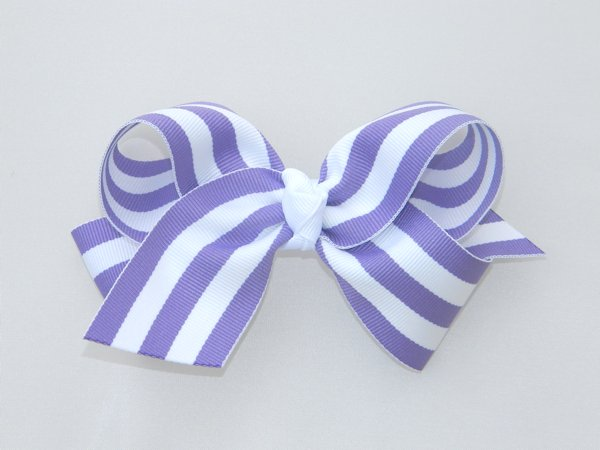 Purple & White Stripe Large Hair Bow