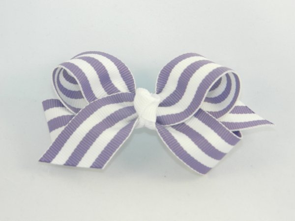 Purple & White Stripe Medium Hair Bow