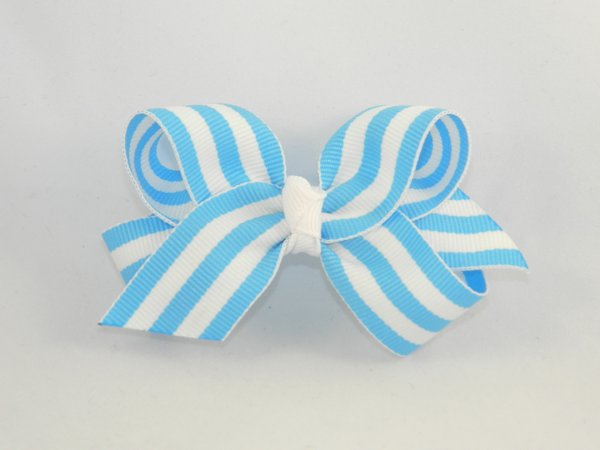 Bright Blue & White Stripe Medium Hair Bow